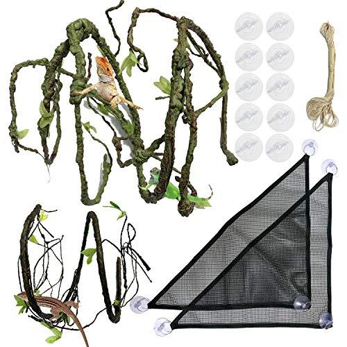 PietyPet 21 Stück Terraristik Eidechse Lebensraum DekorZubehör, Bärtiger DracheHängematte, 2 Stoff Reptilien HängemattemitKünstliche Pflanzen für Chamäleon, Eidechsen, Gecko, Schlangen, Leguan