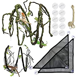 PietyPet 21 pcs Reptile Lizard Habitat Decor Accessories, Bearded Dragon Hammock, Fabric Reptile Hammock with Artificial Climbing Vines and Plants for Chameleon, Lizards, Gecko, Snakes
