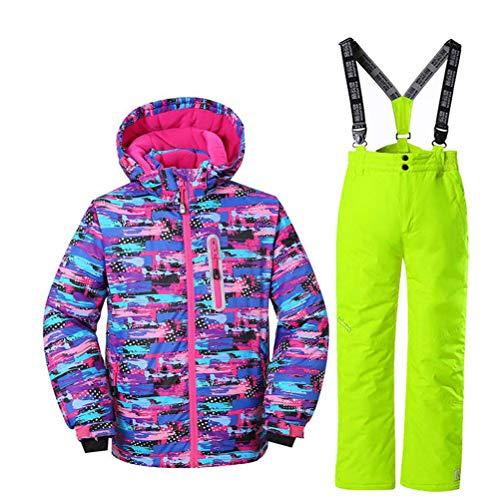 AZUOYI Kinder Ski Jas Pant Skibroek Voor Meisjes Waterdicht Winddicht Buiten Vrouwelijke Winter Camping Snowboarden Pak Jas (Jas + broek)