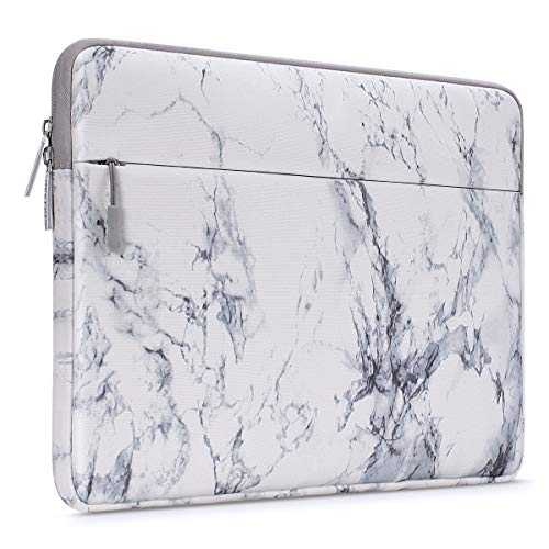 MOSISO Laptop Sleeve Compatible with 15 inch MacBook Pro with Touch Bar A1990 A1707 2016-2019, 14 inch ThinkPad Chromebook Computer, Marble Pattern Carrying Case Bag Cover, White