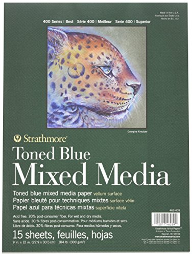 Strathmore 400 Series Toned Blue Mixed Media Pad, 9'x12' Glue Bound, 15 Sheets per Pad