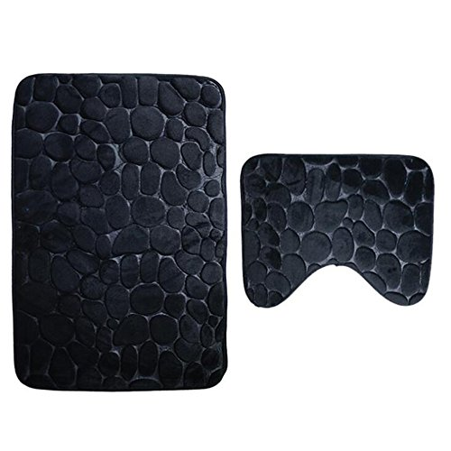 JIAN YA NA Lot de 2 tapis de salle de bain en polyester extra doux antidérapant Noir