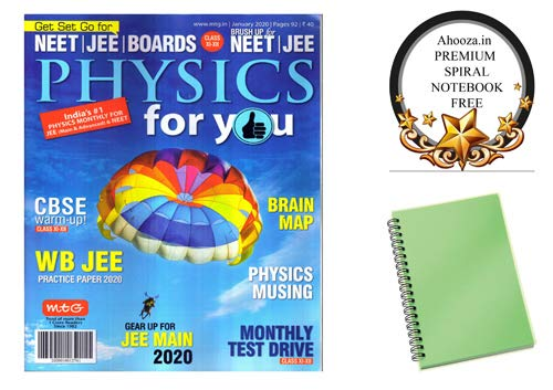 Physics for you English Magazine Monthly Issue january 2020 With Ahooza Premium Spiral Notebook
