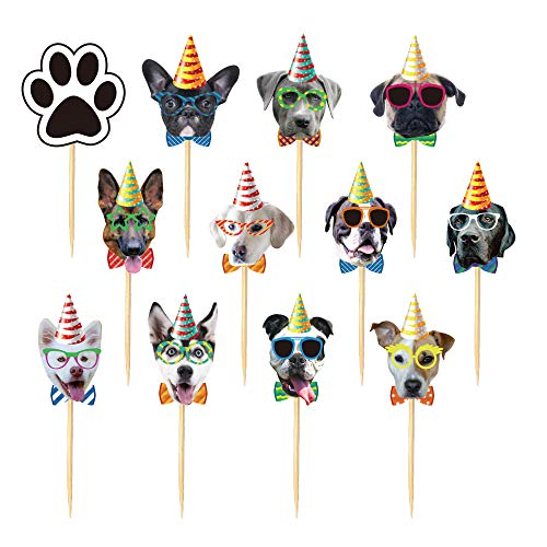 TSJ 24PCS Dog Cupcake Toppers, Dogs Face Cake Toppers, Puppy Pet Theme Birthday Party Decorations Supplies for Kids