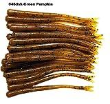 20 Pcs 4-1/2' Drop Shot Finesse Worms, (Green Pumpkin) Soft Plastic Worms Baits, Scented, Bass...