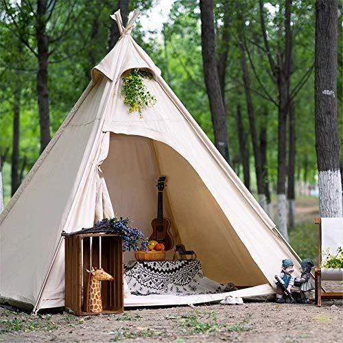 RongWang Outdoor Familien Camping Leinwand Pyramide Zelt Erwachsene Indian Tipi Zelt Camping Tipi Zelt für 2~3 Personen