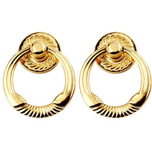 Moderner Möbelknopf Ring, Drop Pull Ring Möbel Schrank Griff 47 x 38 mm, Golden, 2 Stück