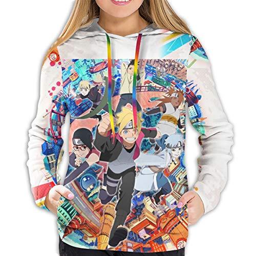Boruto Naruto Next Generations Hoodies Damen Sweatshirt Pullover 3D Print Casual Jacke Mädchen Hoodie Tops Gr. XL, Schwarz