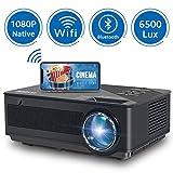 Proyector, FANGOR 6500 Lúmenes Mini Proyector Portatil 1080P Nativo Wi-Fi Vídeoproyector 4K Corrección Tropezoidal Cine en Casa Proyector 65000 Horas, Compatible con HDMI/USB/SD/VGA/AV/TV Box