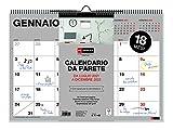 Miquelrius - Calendario da Parete 2021-2022 Italiano, 18 Mesi, Luglio 2021 - Dicembre 2022, Formato A4, 29.7 x 21 cm, Basic, Lingua Italiana, Grigio