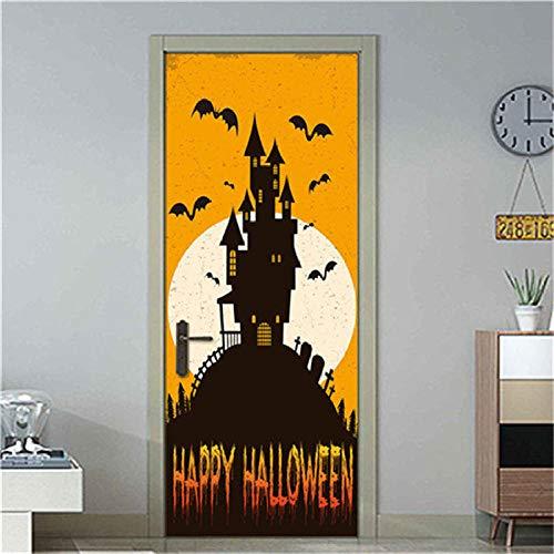 3D Kreative Türaufkleber Schlafzimmer Halloween Schloss Türen Renovierung Wasserdichte Tür Aufkleber Einfache Wohnzimmer Fensterbild 77X200Cm