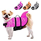 AOFITEE Dog Life Jackets Ripstop Pet Life Vest, Reflective Dog Float Coat, Safety Lifesaver Life Preserver with Shark Fin & Rescue Handle for Small Medium Large Dogs (Pink M)
