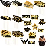 Graduation Cupcake Toppers - 72 PCS Class of 2021 cupcake Toppers Picks for Graduation Cupcake Decorations, Congrats Grad Cupcake Toppers Graduation Party Supplies Decorations(8 Patterns)