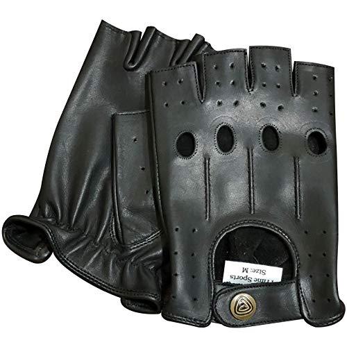 Prime - guantes de conducción sin dedos, de cuero real, para moto,...