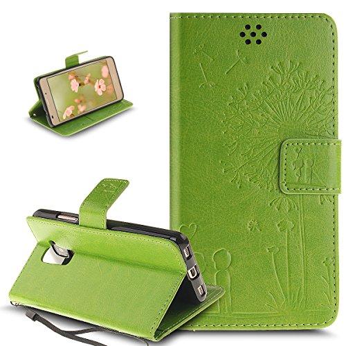 Kompatibel mit Schutzhülle Huawei Honor 5C Hülle Lederhülle Handyhülle,Prägung Liebe Löwenzahn Liebhaber PU Lederhülle Handyhülle Tasche Handytasche Flip Wallet Ständer Schutzhülle,Grün