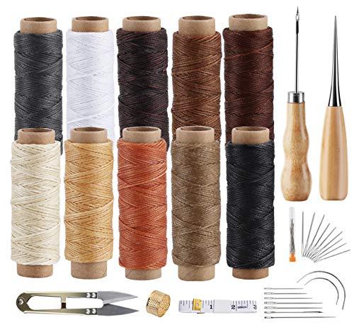 Agoer Leder Nähen Set - [10 Farben+ 23 Werkzeug] Leder Wachsfaden Nähgarn 300 Meter Gewachster Faden für Lederhandwerk DIY Sewing Craft, Jeder von 30 Meter