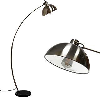 Arc Lampadaire,lampadaire moderne en métal nickel avec Unique base en marbre,abat-jour E27, col réglable, Interrupteur au ...