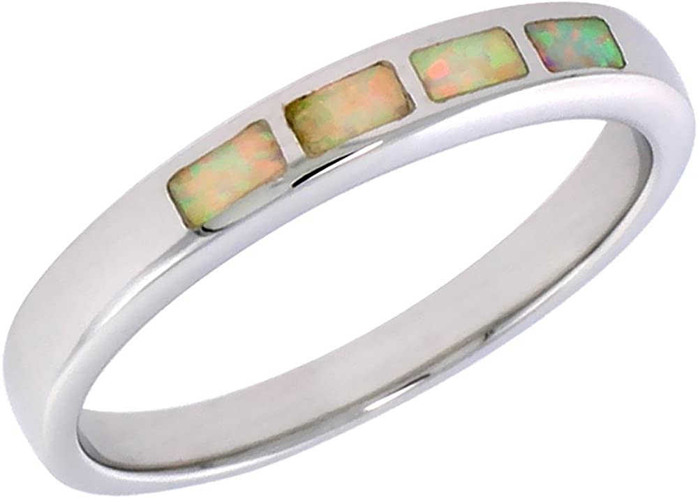 Sterling Silver Band Ring with Blue Fire Opal Curved Band Simplicity Comfortable Fit Thick Band Satin Finish Size 6.25-6.5