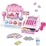 Liberty Imports Ice Cream Store Mini Cash Register with Pretend Play Desserts, Working Scanner, Calculator, Microphone, Money and Credit Card