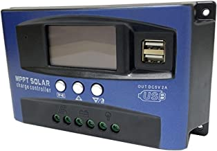 MPPT LADING BOARD Controller, Solar Charge Controller Dual USB LCD-display 12V 24V (blauw, 40A)