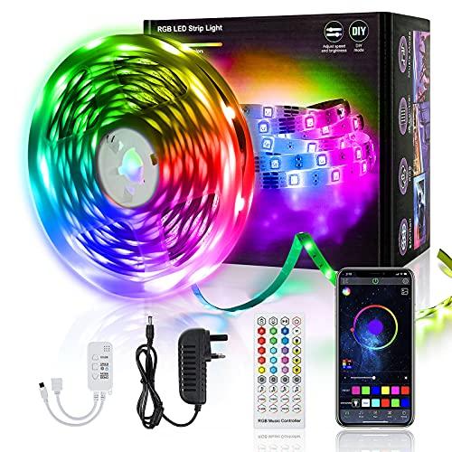 FAUETI Tira de luces LED RGB de 5 m, con mando a distancia y control por Bluetooth, cambio de color, sincronización de música, cadena de luces LED para bares, familias, fiestas [Clase energéti