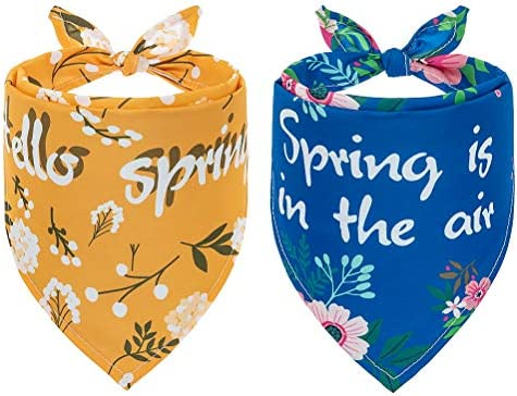 SCENEREAL Dog Bandana 2 Pack for Spring Adjustable Soft Polyester Doggy Triangle Scarf with product image