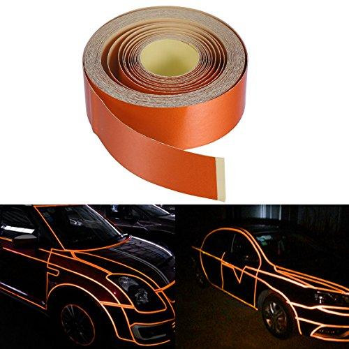 VORCOOL 2 cm x 5 mt Zierstreifen selbstklebend reflektierende klebeband für Auto Motorad DIY Dekor (Orange)