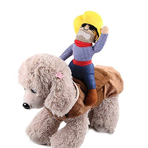 Ponacat Divertido Disfraz de Navidad para Mascotas Jinete a Caballo Diseñado para Perro Disfraz de Santa Claus Disfraz de Navidad para Decoración Ropa Accesorio para Gato Perro Cachorro