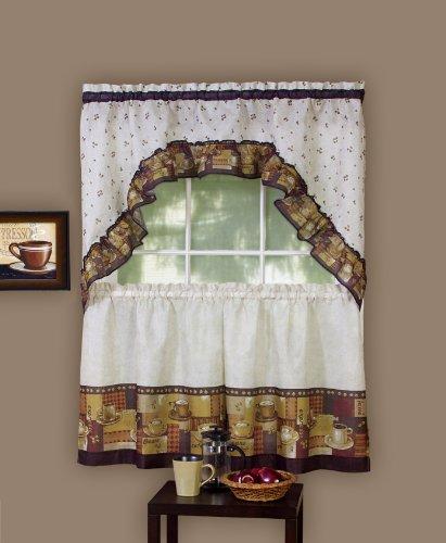 Achim Home Furnishings Coffee Tier and Swag Window Treatment Set, Brown