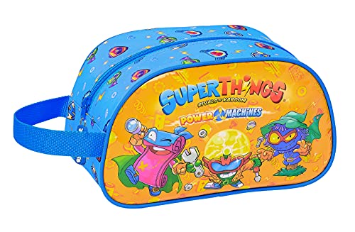 Safta Neceser Escolar Infantil Mediano con Asa de Superthings Serie 7, 260x120x150 mm, Azul/Multicolor (M248)
