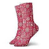 1 Pares Calcetines Deportivos Mujeres Tobilleros Entrenadores Antideslizantes Socks Navidad estilo vintage ciervos lindos personajes Navidad Calcetines Ciclismo hasta pantorrilla Crew Calcetines 30CM