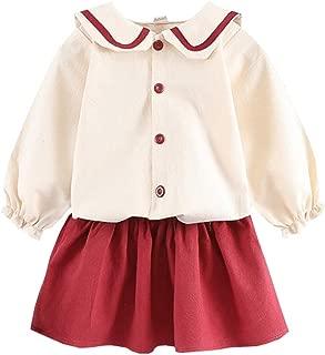Xifamniy Newborn Girls Long Sleeve Dress Navy 2pcs Spring and Autumn Pleated Skirt