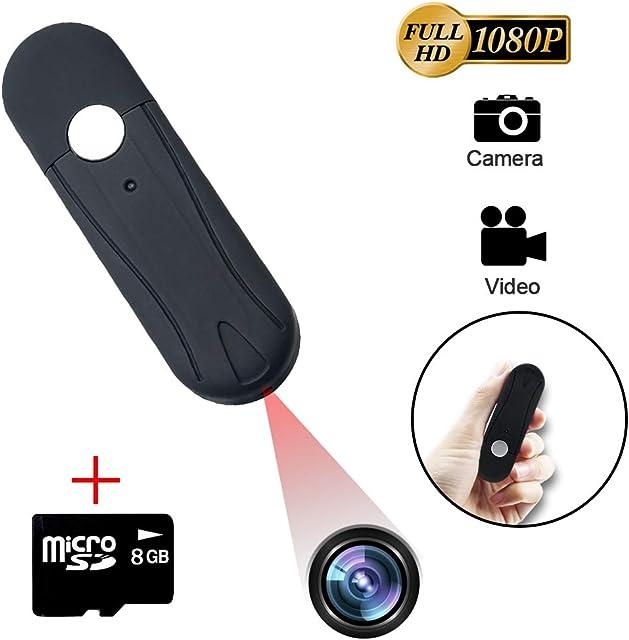 LXMIMI Mini Cámara Espía Cámara Oculta de 1080P HD Videocamara Espía con Tarjeta Micro SD 8G Spy Camera de Grabación en Bucle U-Disk para Monitoreo Comercial