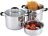 AVACRAFT 18/10 Stainless Steel, 4 Piece Pasta Pot with Strainer Insert, Stock Pot with Steamer...