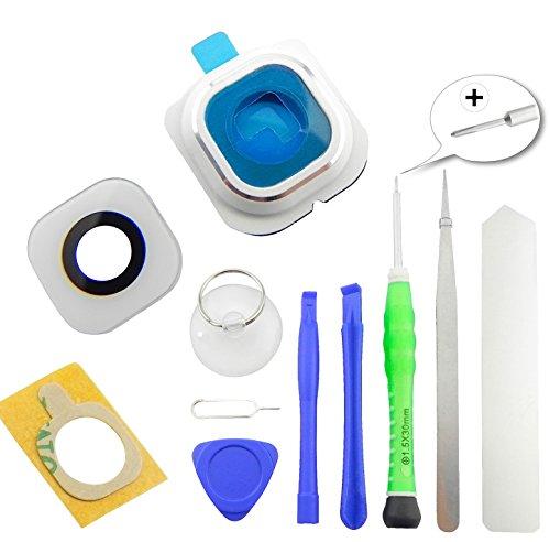 TOKA-VERSAND® - Kamera Glas Abdeckung Premium [echt Glass] für Samsung Galaxy S6 Edge [G925F] mit Rahmen und Kleber [Dichtung] sowie 8X teiliges Werkzeug [magnetisch] 11in1 Linse weiß