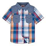 Levi's Boys' Short Sleeve Button Up Shirt, Orange Ochre, M