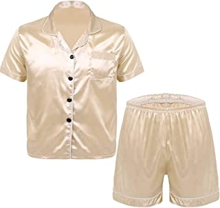 CHICTRY Mens Silky Satin Pajamas Set Notch Collar Button Down Shirt Top with Boxer Shorts Nightwear