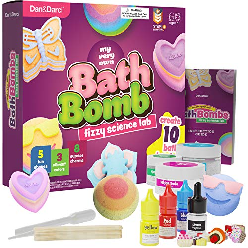 Create Your Own Bath Bombs - DIY Bath Bomb Making Kit - Great Science Kit Gift for Kids Boys and Girls - Make 10 Bath Fizzies