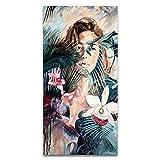 Colorido Sexy Flor Mujer Lienzo Cartel Arte de la pared Imagen Pintura de la pared Decoración de la sala de estar 30x60cm
