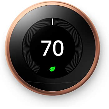 Google T3021US Nest Learning, White, Works with Amazon Alexa Thermostat, 3rd Generation, 1, Copper