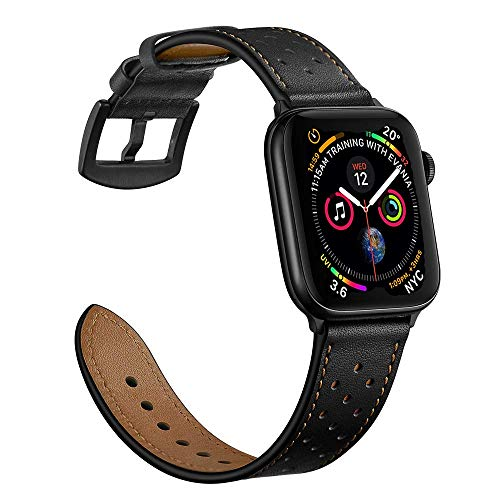 Mifa Leather Band Compatible with Apple Watch 6 SE 5 4 44mm 42mm iwatch Series 3 2 1 Replacement Strap Dressy Classic Bands Buckle Vintage Band with Black Stainless Steel Adapters 44/42mm Black