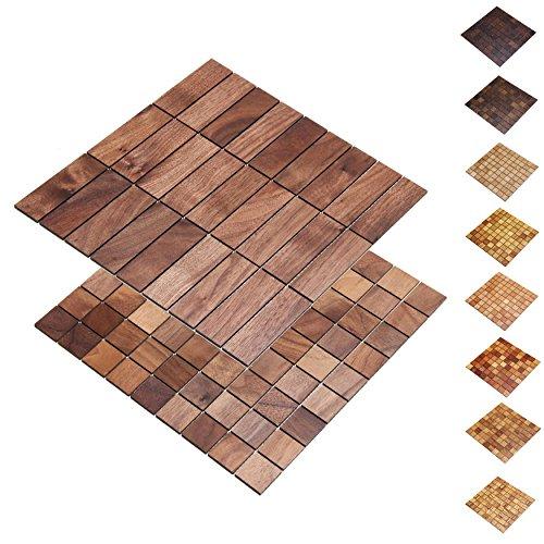 wodewa Holz WandverkleIdung Holzmosaik Fliese 28x28cm Nussbaum Echtholz Wandpaneele Moderne Wanddekoration Holz Holzverkleidung Fußboden Decke 30x30mm
