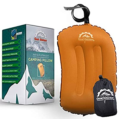 Gear Doctors Anti-Slip Ultralight Inflatable Camping Pillow -Ergonomic Design for Maximum Neck and Back Support - Compact and Comfortable Perfect for Camping Hiking (Orange Camping Pillow)