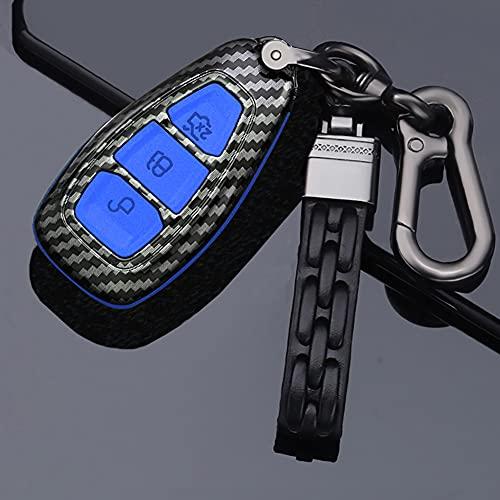 ontto Funda para llave de coche para Ford Fiesta, Focus, Fusion, Mondeo, Ecosport, Kuga Titanium MK3 MK4 Galaxy, mando a distancia, carcasa de plástico con llavero de fibra de carbono azul A