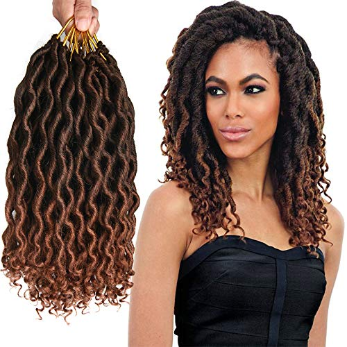 7Pcs/Lot Short Wave Locs Faux Crochet Hair 12 Roots/pcs Faux Locs Crochet Hair Wavy Faux Locs with Loose Wave Ends 12 Inch Synthetic Braiding Hair Extension (Mix Brown(1B/30#))