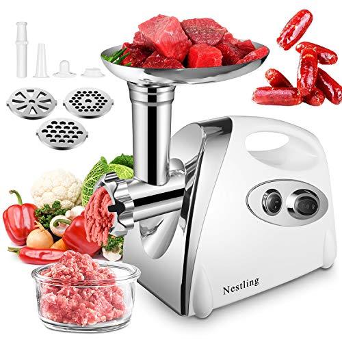 Nestling® Elektrischer Fleischwolf & Wurstmaschine 3-IN-1 Multi Fleischwolf Wurstfüller mit 3 Edelstahl-Schleifplatten und Wurstfüllrohren für den Hausgebrauch, 400W-Weiß