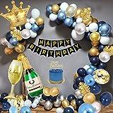 Decoraciones Cumpleaños para Hombres, Decoraciones Fiesta Oro Azul con Adorno Para Tartas, Pancarta, Globo Papel Aluminio Forma Copa Vino, Globo Azul Marino, Globos Metálicos Oro Azul Plateado