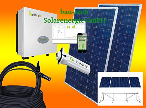 bau-tech Solarenergie 1000Watt Photovoltaikanlage für Eigenverbrauch Plug & Play Komplettset mit Montagematerial als Aufständerung GmbH