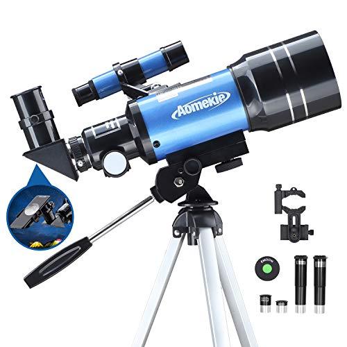 Aomekie Telescopio Astronómico 70mm Telescopio para Niños con Trípode Adaptador Teléfono Ffiltro Lunar para Principiantes Observa la Luna