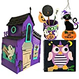Halloween Art and Craft Kit DIY with 3D Haunted House, Trick or Treat Door Sign Hanger, Pencil Holder, Pen Topper and Notebook Kids Boys & Girls Activities Project Set